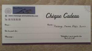 Exemple chèque cadeau pour Amma Détente